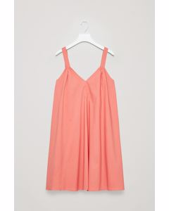 STRAPPY POPLIN DRESS Coral