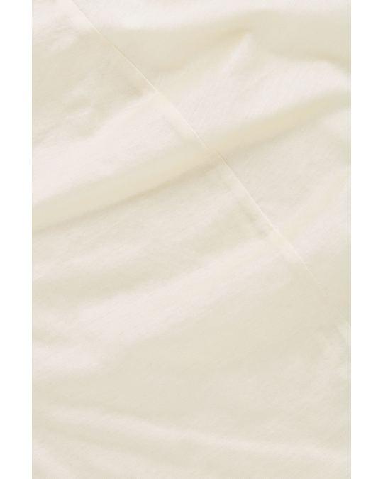 COS Draped-Neck Cotton T-Shirt Buttercream