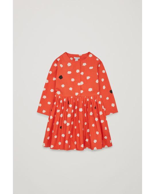 COS DOT-PRINTED SHIRT DRESS Orange