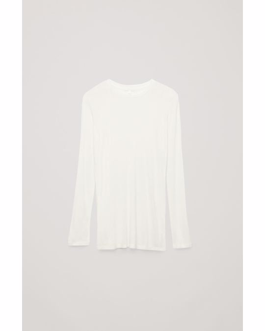 COS Round-Neck Cashmere Jersey Top White