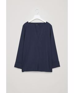 BLOUSE WITH TURN-UP CUFFS Navy
