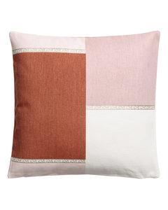 Blockmönstrat Kuddfodral Rostbrun/flerfärgad