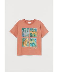 T-Shirt mit Druck Ziegelrot/Dschungeltiere