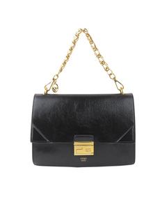 Fendi Kan U Leather Shoulder Bag Black