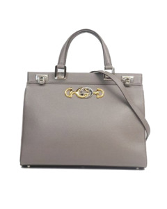 Gucci Zumi Leather Satchel Gray