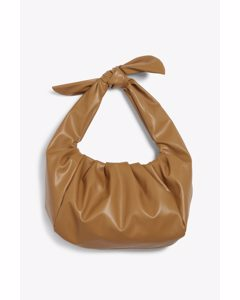 Ruched Faux Leather Hand Bag Tan