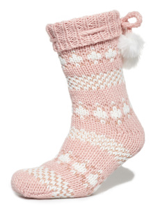 Sparkle Fairisle Slipper Socks Pink/rose Gold