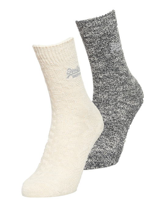 Superdry Superdry Cable Sock 2pk Charcoal/ Cream