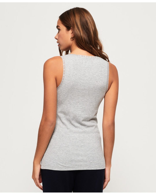 Superdry Emily Rib Loungewear Vest Sky Grey Marl