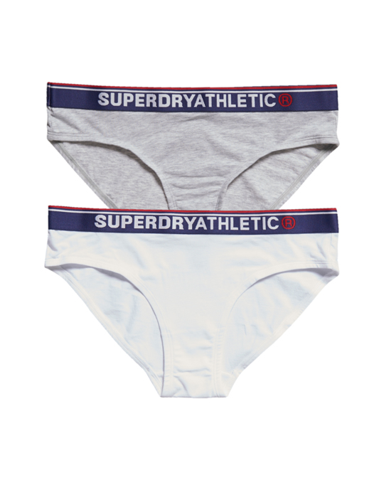 Superdry Tri Athletic Brief Double Pack Grey Marl/optic