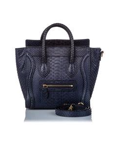 Celine Python Nano Luggage Satchel Black