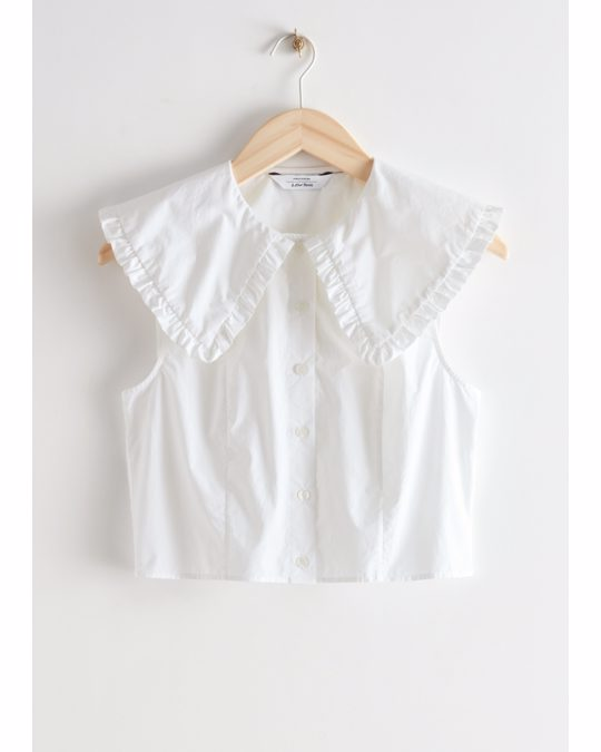 & Other Stories Ruffle Collar Button Up Top White