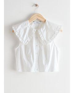 Ruffle Collar Button Up Top White