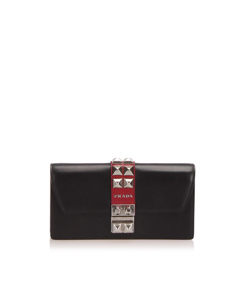 Prada Elektra Studded Leather Wallet On Chain Black