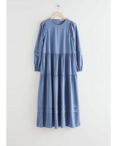 Voluminous Tiered Midi Dress Blue