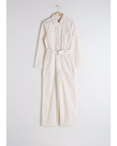 Belted Workwear Boilersuit Cream