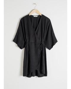 Cupro Blend Mini Wrap Dress Black
