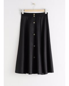 Flared Button Up Midi Skirt Black