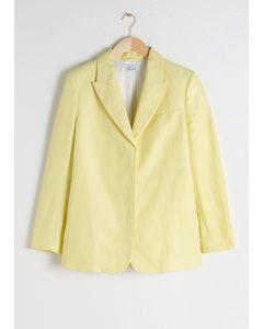 Oversized Linen Blend Blazer Light Yellow
