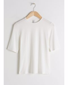 High Neck Fitted T-shirt White