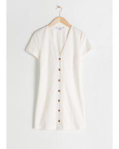 Hourglass Cotton Blend Mini Dress White