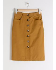 Cotton Twill Workwear Skirt Tan