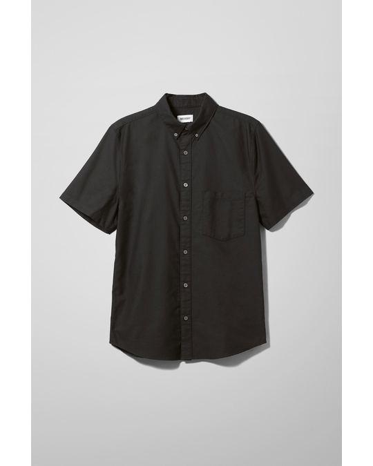 Weekday Henrik Oxford Short Sleeve Shirt Black