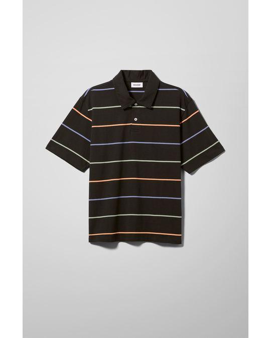 Weekday Otto Striped Polo Black