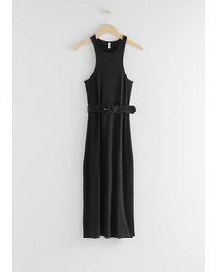 Belted Soft Ribbed Midi Dress Black