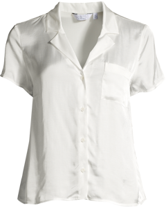 Relaxed Fit Satin Shirt White