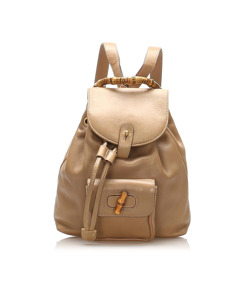 Gucci Bamboo Drawstring Leather Backpack Brown