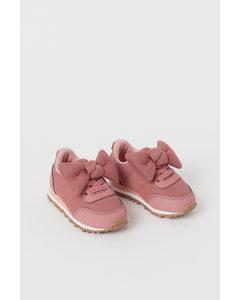 Sneaker aus Mesh Altrosa/Schleife
