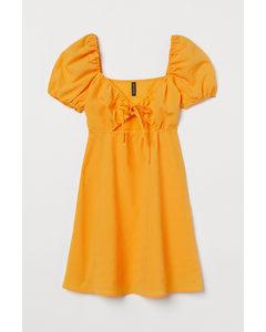 Kleid mit Puffärmeln Dunkelgelb