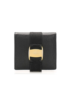 Ferragamo Tri-fold Vara Lizard Leather Small Wallet Black