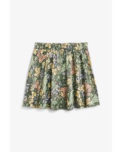 Satin Mini Skirt Green Floral Print