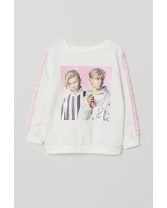 Sweatshirt Med Tryck Vit/marcus & Martinus