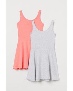 2er-Pack Jerseykleider Apricot/Hellgraumeliert