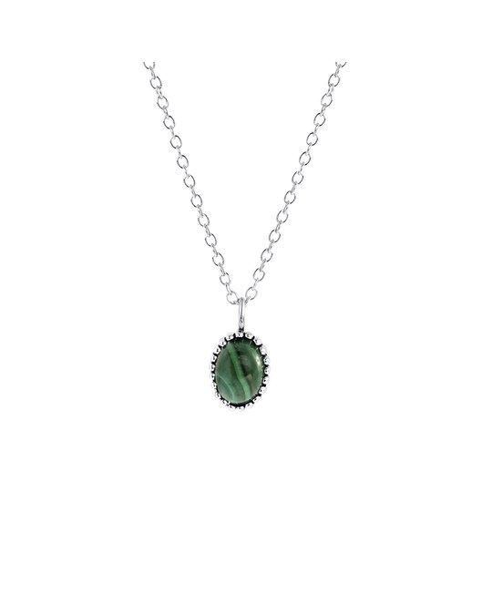 Lucardi Zilveren Ketting Met Hanger Gemstone Malachite