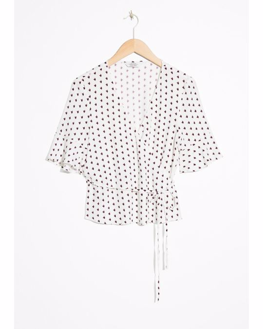 & Other Stories Abstract Spotted Wrap Blouse Spot Print