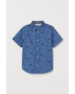 Baumwollbluse Blau/Dinosaurier