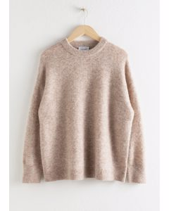Oversized Alpaca Blend Relaxed Sweater Oatmeal
