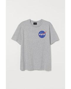 T-shirt Met Print Grijs Gemêleerd/nasa