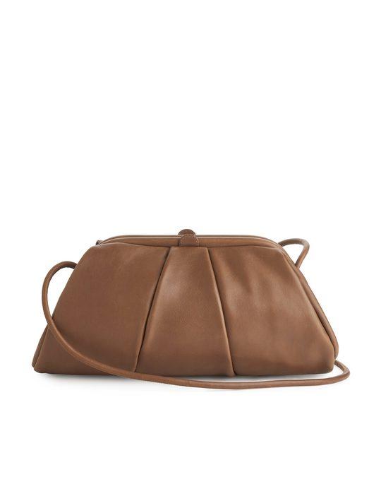 Arket Soft Leather Clutch Bag Camel