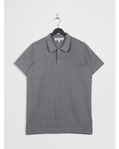 100% Recycled Polo Neck Short Sleeve Knitted Top Lightgrey