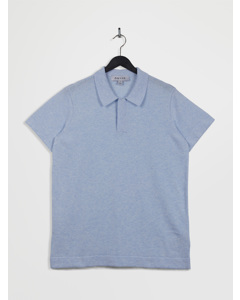 100% Recycled Polo Neck Short Sleeve Knitted Top Lightblue