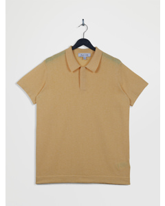 100% Recycled Polo Neck Short Sleeve Knitted Top Lightyellow