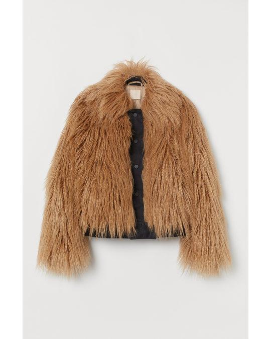 H&M Faux Fur Jacket Beige