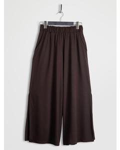 Side Slit Wide Leg Cropped Pants Brown