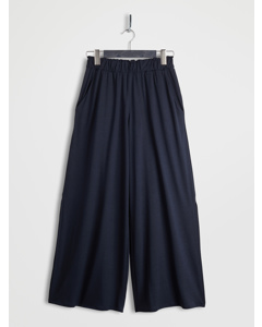 Side Slit Wide Leg Cropped Pants Navy