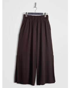 Side Slit Wide Leg Cropped Pants Brown